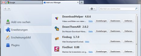 Add-on-Manager in Firefox 4