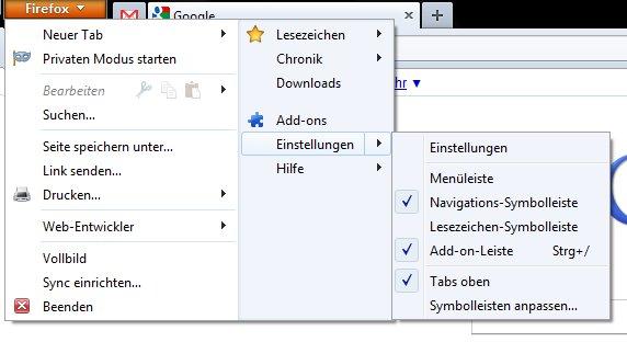 Die Menüleiste in Firefox 4