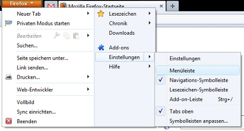 Firefox 4: Fehlende Menüleiste einblenden