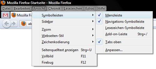 Firefox 4: Menüleiste ausblenden