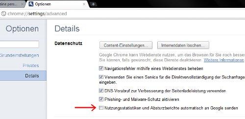 Chrome Nutzungsstatistik ausschalten
