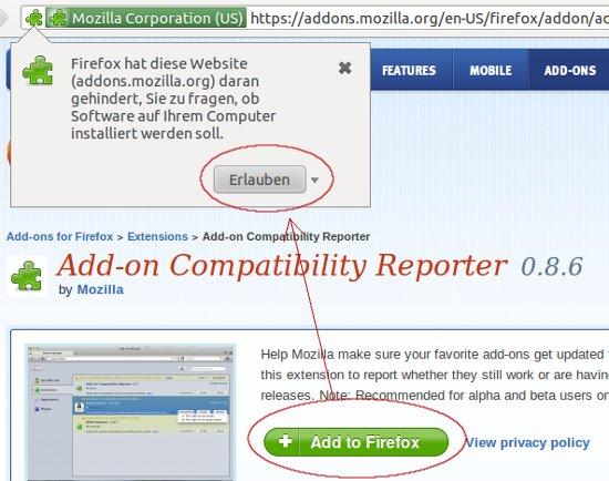 Add-on Compatibility Reporter installieren
