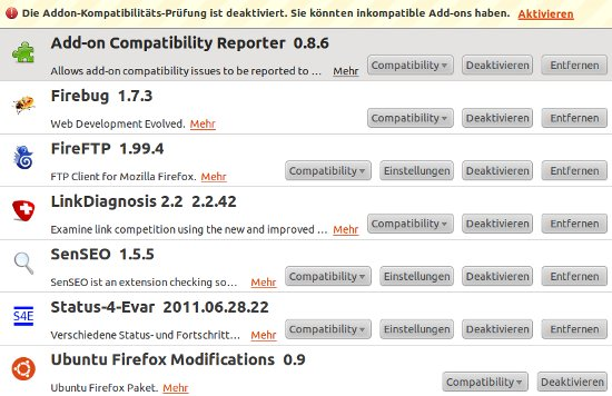 Add-on Compatibility Reporter in der Übersicht