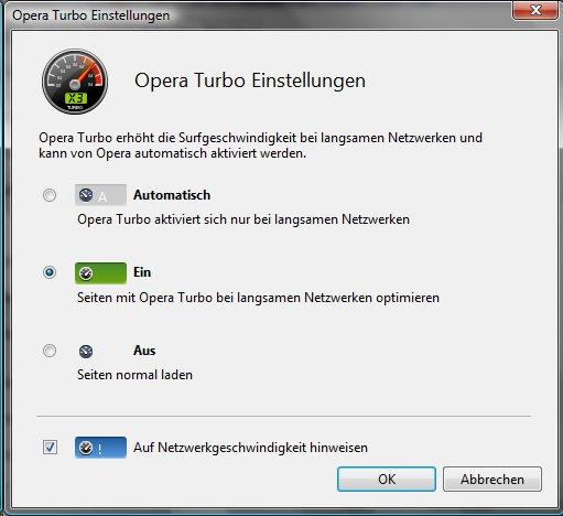 Opera mit dem Turbo schneller machen