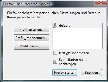 Profilverwaltung mit dem Profilmanager von Firefox