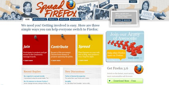 Screenshot der alten Spread Firefox Webseite