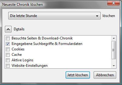 Chronik von Firefox löschen