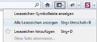 Firefox Lesezeichen anzeigen