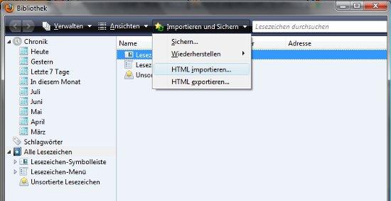 Firefox Lesezeichen importieren
