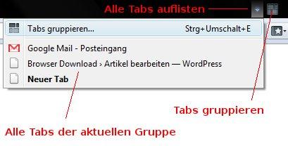 Tab-Gruppen in Firefox