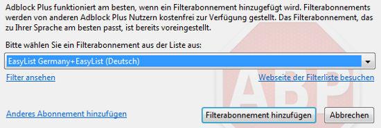 Adblock Plus - Filterliste