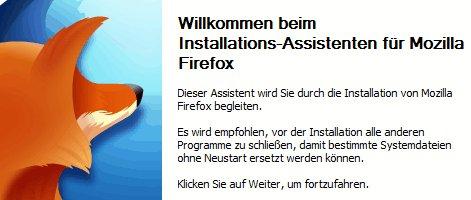 Installations-Assistent von Firefox