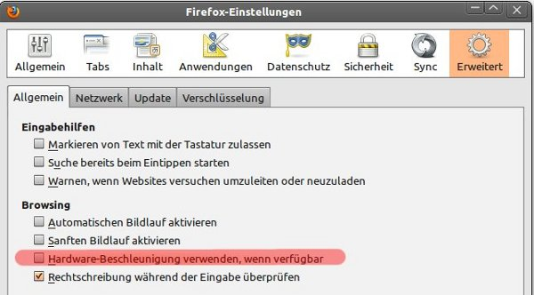 Hardwarebeschleunigung von Firefox ausschalten
