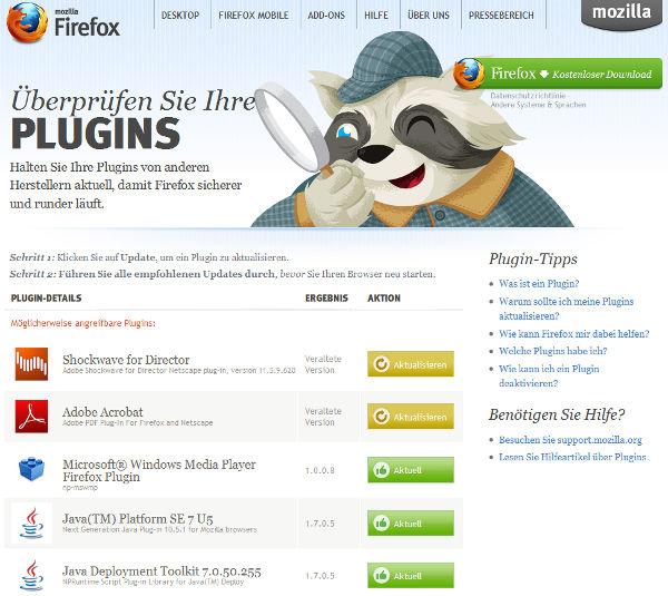 Plugin-Check von Mozilla