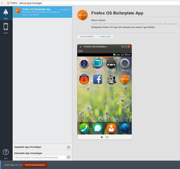 Screenshot des App-Managers