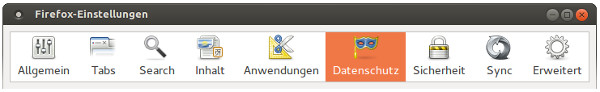 Datenschutz-Tab in den Einstellungen von Firefox
