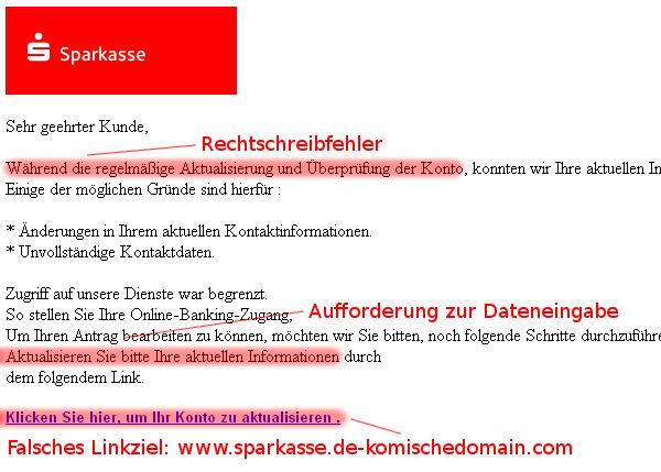 Sparkasse: Phishing-Mail im Detail erkennen