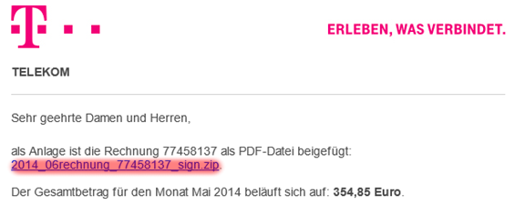 Telekom: Virus-Mail im Detail