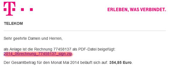 Telekom: Virus-Mail im Detail