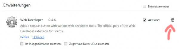 So werden Add-ons in Google Chrome entfernt