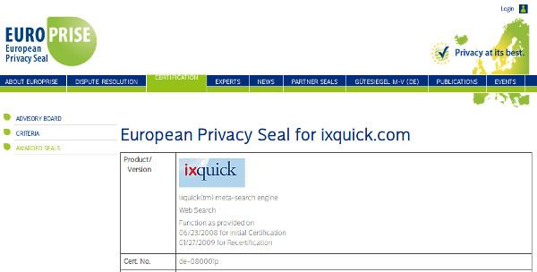 EuroPriSe: Zertifikat für Ixquick