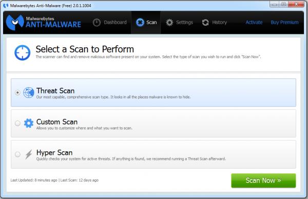 Malwarebytes: Scanmenü