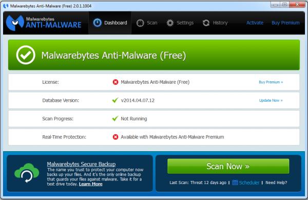 Malwarebytes: Screenshot