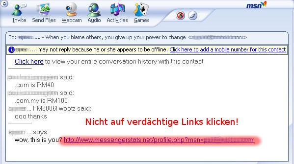 MSN-Virus: Beispiel eines verdächtigen Links