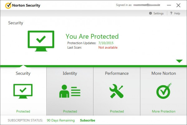 Screenshot: Norton Security Antivirus