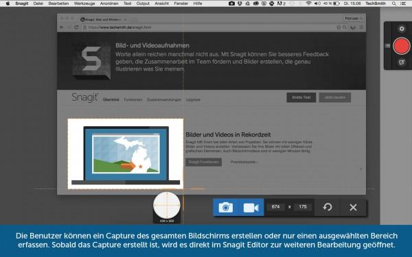 Snagit: Bildschirmbereich ausschneiden und speichern