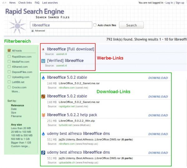 Suchergebnisse der Rapid Search Engine