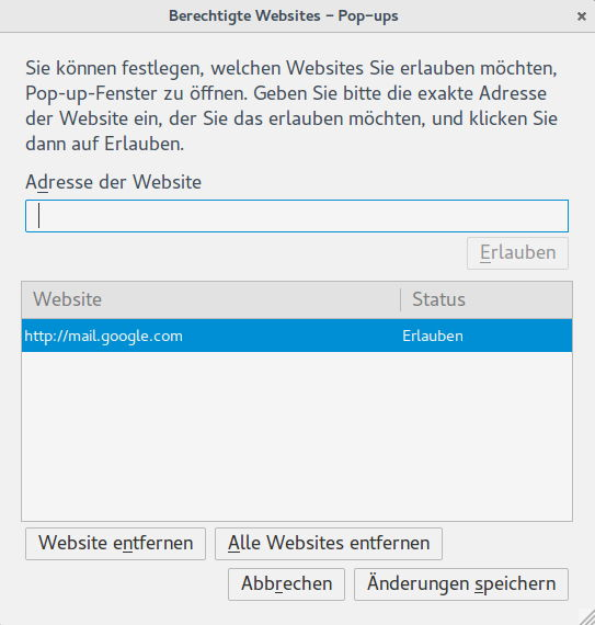 Ausnahmen für Pop-ups in Firefox