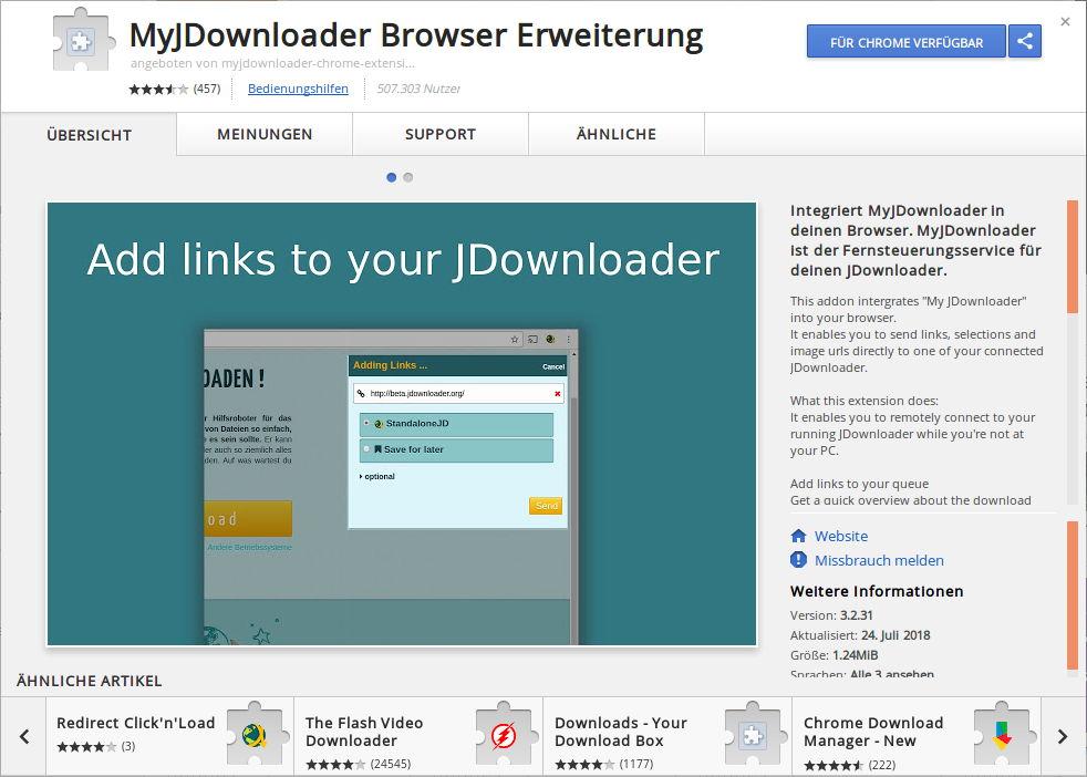 JDownloader Extension für Chrome   Foxload